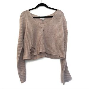 [WILDFOX] Distressed Knit Crop Top Sweater Size S